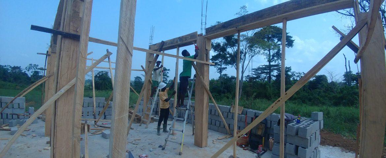 Framing pillars for Jesus.