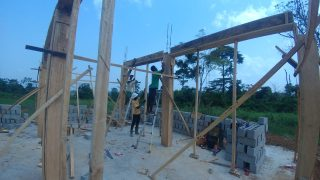Framing pillars for Jesus.